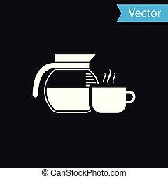 tasse à café, pot, isolé, illustration, arrière-plan., vecteur, noir, blanc, icône