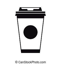 tasse à café, simple, style, papier, icône