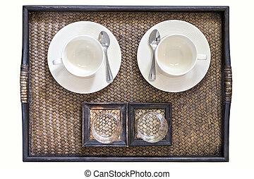 tasse à café, sommet, bambou, vue, basketwork