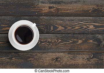 tasse à café, sommet bois, sombre, noir, table, vue