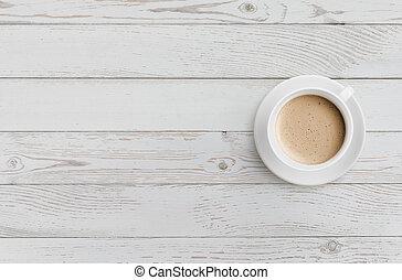 tasse à café, sommet bois, table, blanc, vue