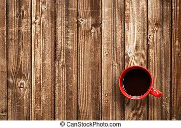 tasse à café, sommet bois, table, vue