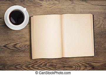 tasse à café, sommet, livre, table, ouvert, vue