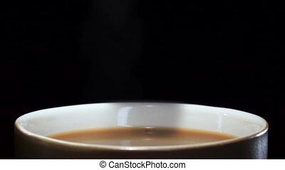 tasse à café, sucre, tomber, morceau, lait