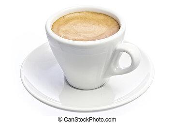 tasse à café, sur, express, isolé, blanc
