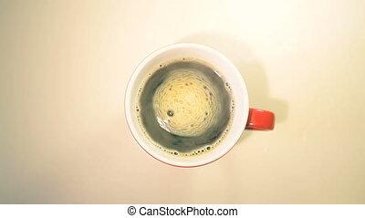 tasse à café, table, bois