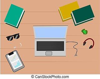 tasse à café, table, sommet, chaud, informatique, vector., bureau, sur, vue