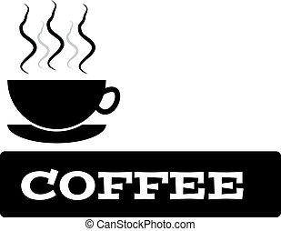 tasse à café, texte, isolé, fond, blanc