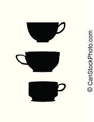 tasse à café, trois, fond foncé, blanc