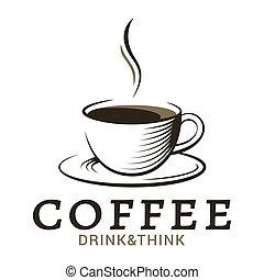 tasse à café, vendange, fond, logo, blanc