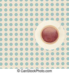 tasse à café, vendange, sommet, table, vue