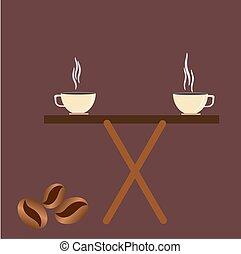 tasse à café, vendange, stylisé, vecteur, haricots, table.