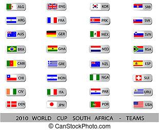 tasse, afrique, -, équipes, mondiale, 2010, sud