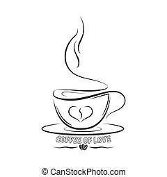 tasse, bannières, café, autocollants, love., contour, inscription, logos, autocollants, dessiné, vecteur