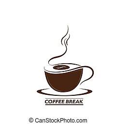 tasse, bannières, hand-drawn, café, silhouette, autocollants, inscription, logos, break., autocollants, vecteur