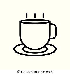 tasse, blanc, isolé, arrière-plan., contour, café, vecteur, illustration., icon.