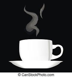 tasse blanche, café, chaud