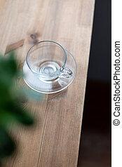 tasse, bois, matin, table verre, vide