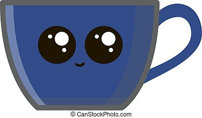 tasse café bleue, illustration, arrière-plan., vecteur, blanc