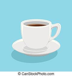 tasse café bleue, illustration, vecteur, fond, icône
