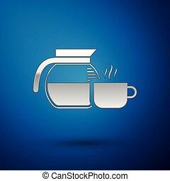 tasse café bleue, pot, isolé, illustration, arrière-plan., vecteur, argent, icône
