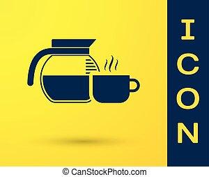 tasse café bleue, pot, isolé, jaune, arrière-plan., vecteur, illustration, icône
