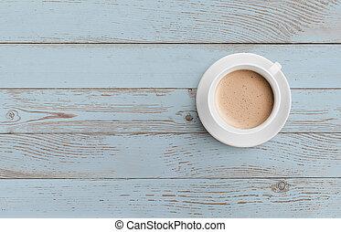 tasse café bleue, sommet bois, table, vue