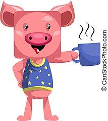 tasse, café, cochon, arrière-plan., vecteur, blanc, illustration