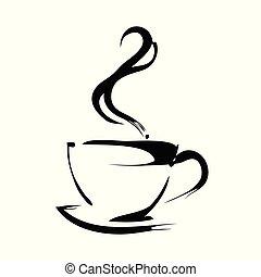 tasse, café, isolé, illustration, vecteur, fond, blanc