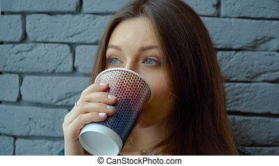 tasse, chocolat, chaud, papier, girl, café, boissons