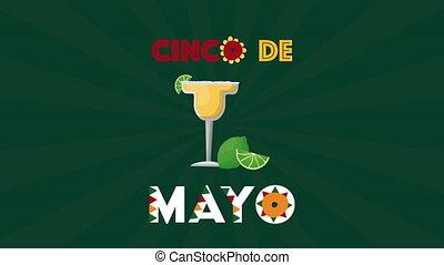 tasse, cinco, célébration, cocktail, de, mexicain, mayonnaise