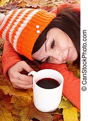 tasse, coffe., feuilles, automne, orange, girl