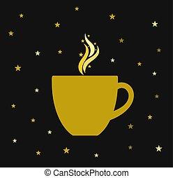 tasse, coffee., or, noël