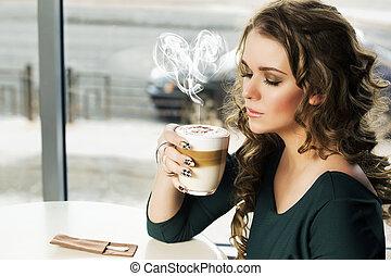 tasse, femme, latte café, séance