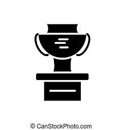 tasse, gagnant, isolé, signe, podium, vecteur, arrière-plan noir, icône, illustration