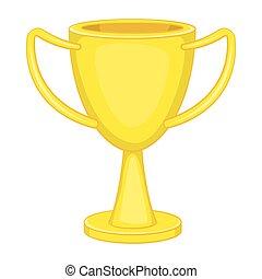 tasse, gagnant, trophée, icône, dessin animé, style