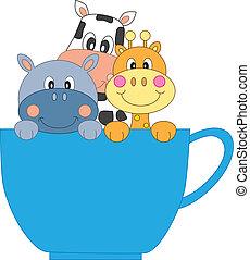 tasse, girafe, hippopotame, vache