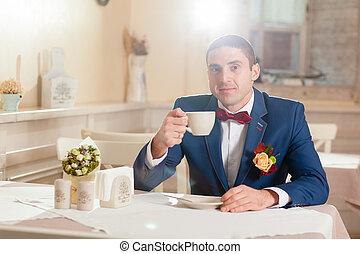 tasse, homme, restaurant