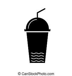 tasse, illustration, isolé, signe, jus, vecteur, arrière-plan noir, icône