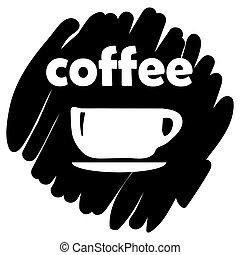 tasse, illustration, vecteur, arrière-plan noir, icône