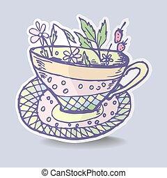 tasse, image, illustration, vecteur, crosse, thé, herbier