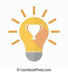 tasse, isolé, ampoule, récompense, lumière