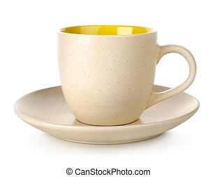tasse, jaune, soucoupe