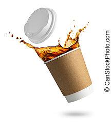 tasse, jetable, café, tomber, éclaboussure