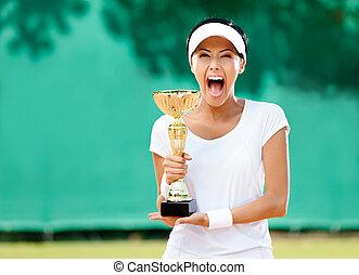 tasse, joueur tennis, gagné, professionnel féminin