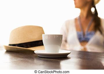 tasse kaffee, hut, und, frau