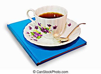 tasse kaffee, oder, tee, mit, a, buch