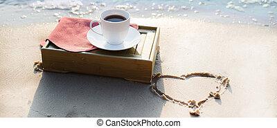 tasse kaffee, strand
