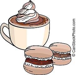 tasse kaffee, und, lieb, kakau, meringe, freigestellt, weiß, hintergrund