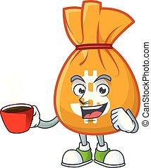 tasse, mascotte, sac, boire, dessin animé, argent